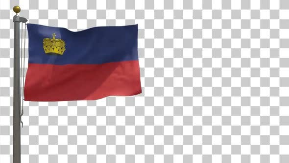 Thumbnail for Liechtenstein Flag on Flagpole with Alpha Channel