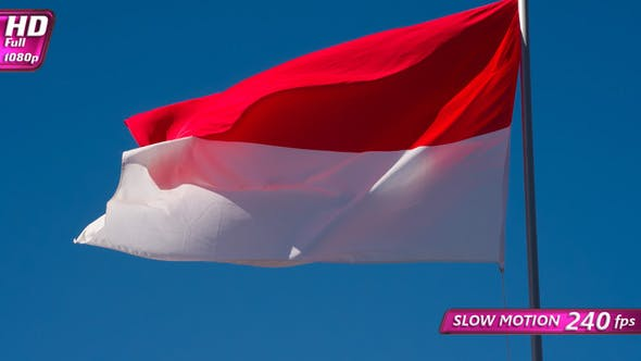 Indonesian Flag Wiggles The Wind
