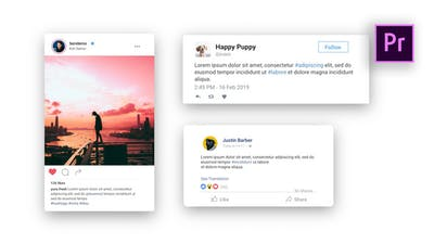 Facebook Twitter Instagram - Animated Posts | MOGRT For Premiere Pro