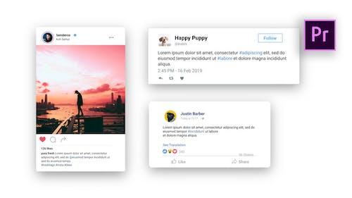 Facebook Twitter Instagram - Animated Posts   MOGRT For Premiere Pro