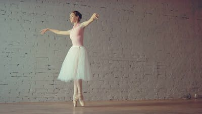 Beautiful Dancer Dancing on Pointe in the Hall