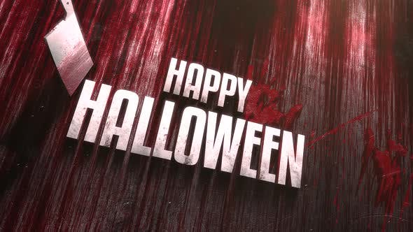 Animation text Happy Halloween on mystical horror background with dark bloody and knife on wood