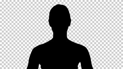 Silhouette  woman sitting , Alpha Channel