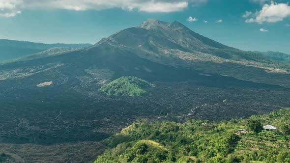 Thumbnail for Volcano of Batur at Summer Day Surrounded By Green Valley in Bali, Indonesia. Timelapse