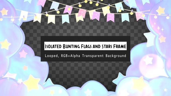 Thumbnail for Isolated Pastel Bunting Flags And Stars Frame