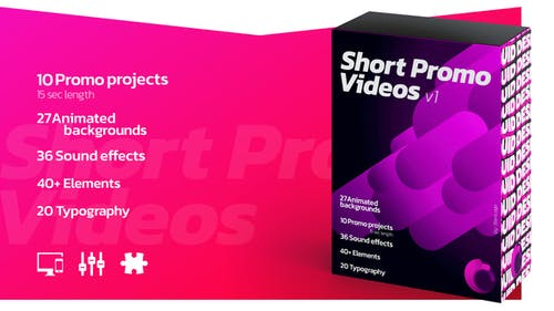 Short Promo Videos. Set v.1 (Promo projects | Sound FX | Typography & more)