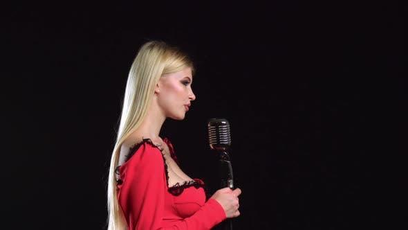 Thumbnail for Singer Sings Songs for the Clip, Black Background