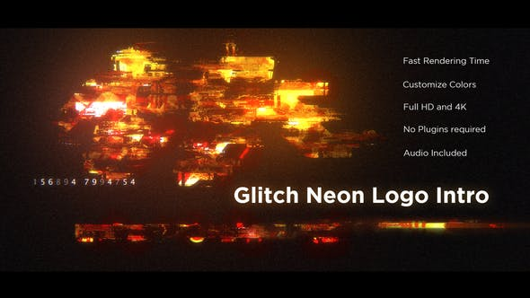 Thumbnail for Glitch Neon Logo Intro