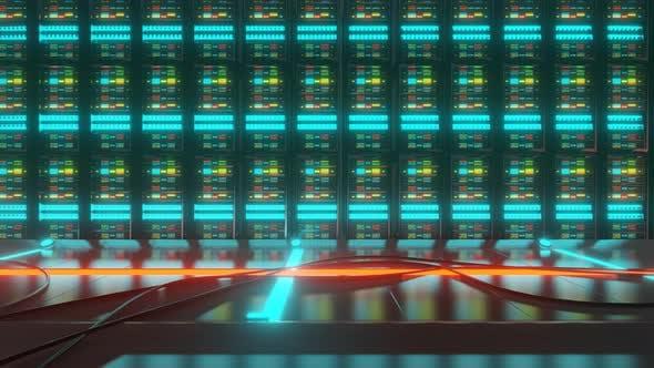 Thumbnail for Slide Shot of Server Room with PC Racks
