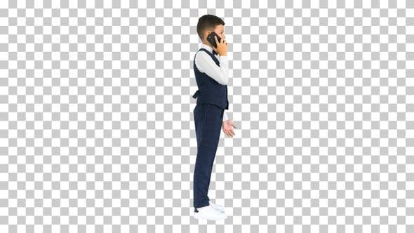 Ernster Junge in einem weißen Hemd Fliege, Alpha Channel