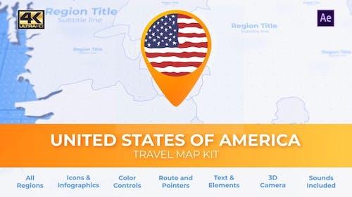 Travel Map USA - United States of America