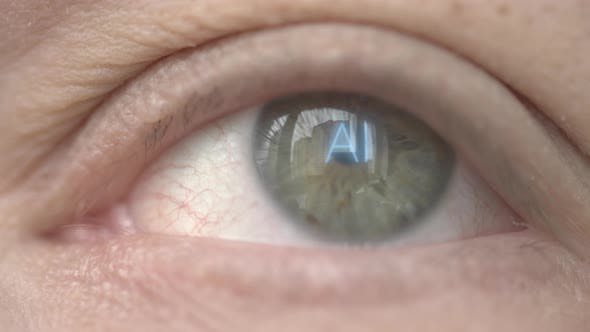 AI or Artificial Intelligence Text on Human Eye