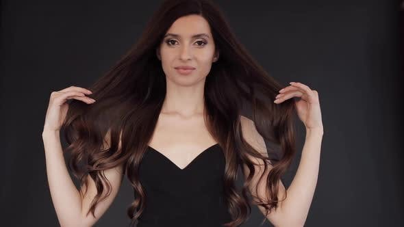 Thumbnail for Slow Motion of Gorgeous Brunette with Luxurious Hair