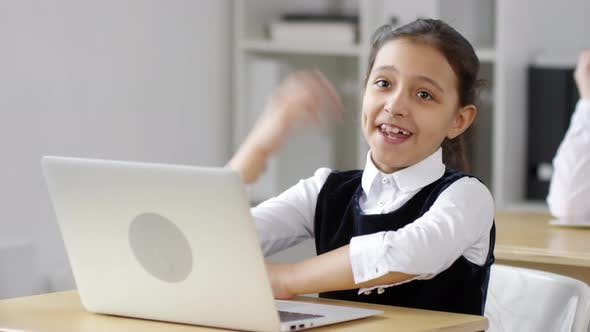 Thumbnail for Eager Mixed Race Schoolgirl Answering during Lesson