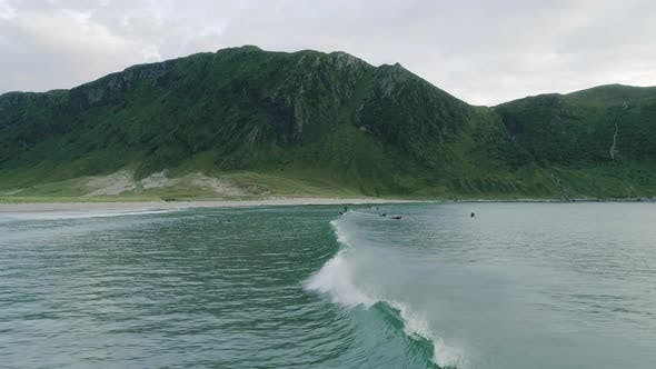 Thumbnail for A Panoramic View of Surf Waves and the Mountain in Hoddevik, Norway