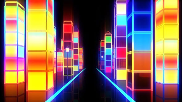 City Night Colorful Glowing