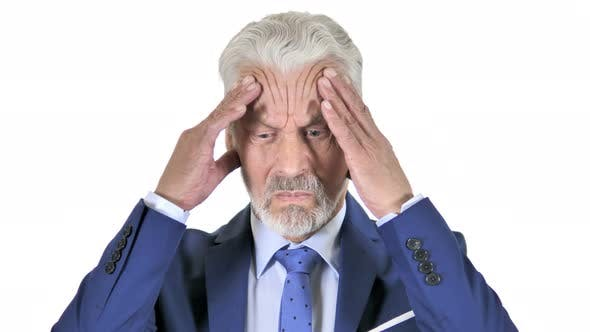 Thumbnail for Old Businessman with Headache Isolated on White Background