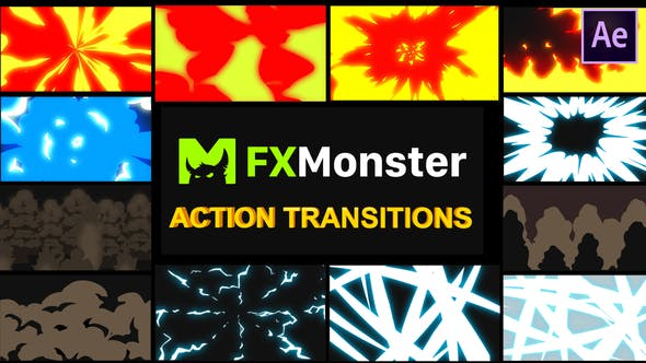 Thumbnail for Cartoon Action Transitions | After Effects