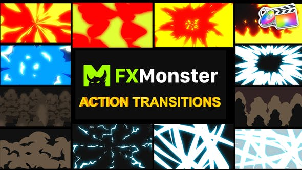 Thumbnail for Cartoon Action Transitions | FCPX