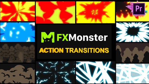 Thumbnail for Cartoon Action Transitions | Premiere Pro MOGRT