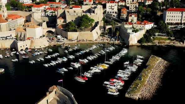 Thumbnail for Medieval walls and harbor in Dubrovnik Old Town.