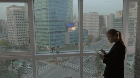 Thumbnail for Businesswoman Working with Pad By the Window. Seoul, South Korea