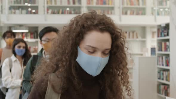Students Getting Temperature Checked in Library