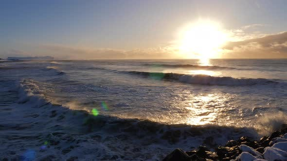 Thumbnail for Iceland Winter View Of Crashing Ocean Waves At Sunrise 2