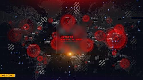 Virus Map Intro/ Corona Virus Covid-19/ DNA/ HUD UI/ Medical Digital Opener/ Pandemic/ World Terror