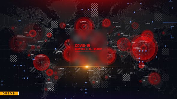 Thumbnail for Virus Map Intro/ Corona Virus Covid-19/ DNA/ HUD UI/ Medical Digital Opener/ Pandemic/ World Terror