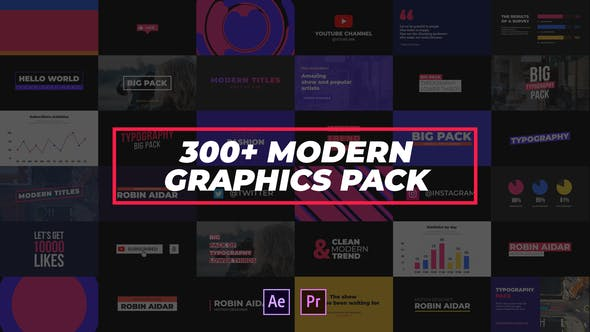 Thumbnail for 300+ Modern Graphics Pack
