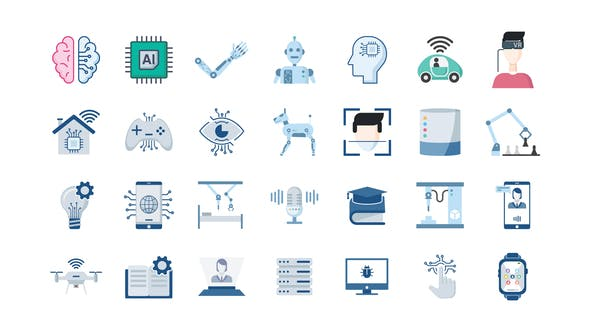 Thumbnail for 100 Artificial Intelligence Icons