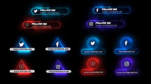 Neon Social Media Lower Thirds