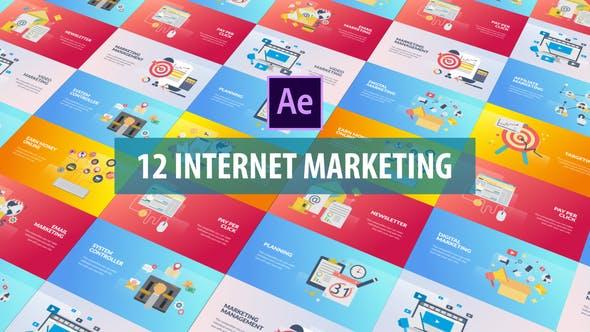 Thumbnail for Marketing en Internet - Animación plana