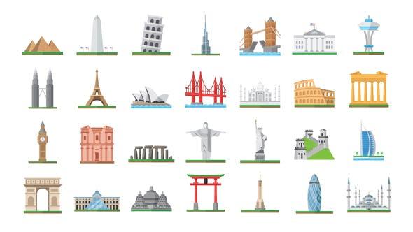100 World Landmarks Icons