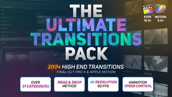 Thumbnail for The Ultimate Transitions Pack - Final Cut Pro X & Apple Motion