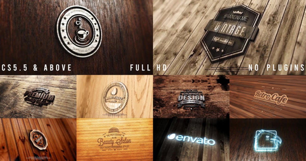 Photo Realistic Logo Mockup Pack 02 : Wood Pack ( Version 3 : Neon )