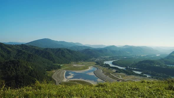 Thumbnail for Panoramic View Of Altai Valley, Mountains And Kutun River In Altai, Russia
