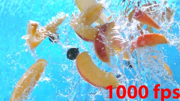 Thumbnail for Fresh Fruits Peach Slices Orange Black Currant Apple Flying Into Water Cascade