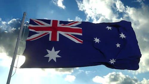 National Flag Australia Blowing Wind Against Blue Sky
