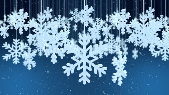 Thumbnail for Festive Winter Snowflake Night Background