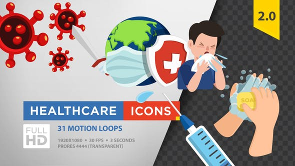 Healthcare Icons (Coronavirus) FULL HD