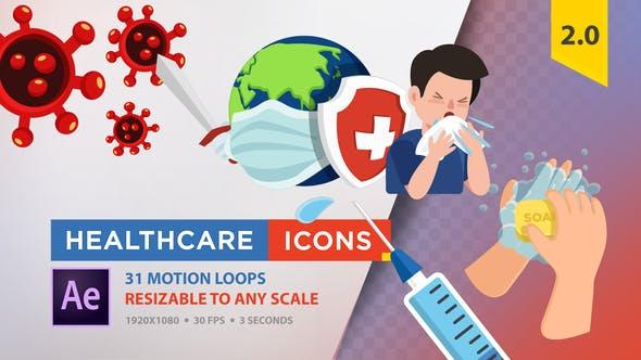 Icones de soins de santé (Coronavirus)