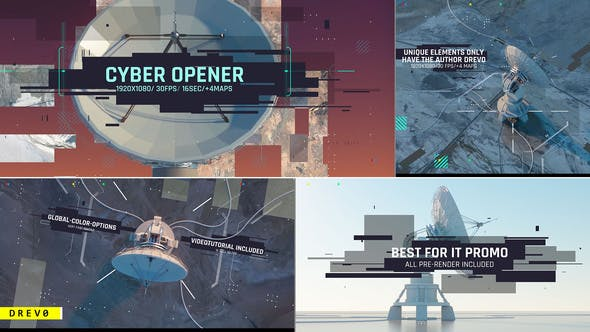Thumbnail for Cyber Opener/ Satellite Antenna/ IT Glitch/ 3D UI/Sci-fi Industrial/ Information Digital Technology