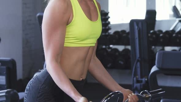 Thumbnail for Cropped Shot of an Athletic Woman Doing Biceps Curls at the Gym