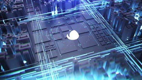 Thumbnail for Logo épico de la ciudad digital