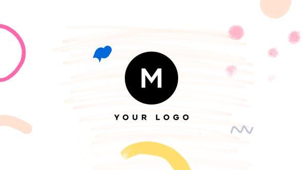 Handgezeichneter Pinsel mit minimalem Logo