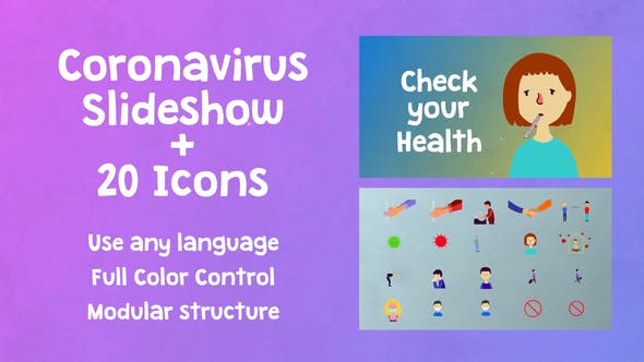 Thumbnail for Coronavirus Covid Slideshow + Icons | After Effects