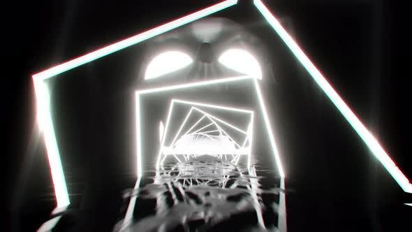 VJ Loop Neon Skull 4K