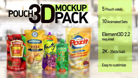 Thumbnail for Pouch 3D Mockup Pack